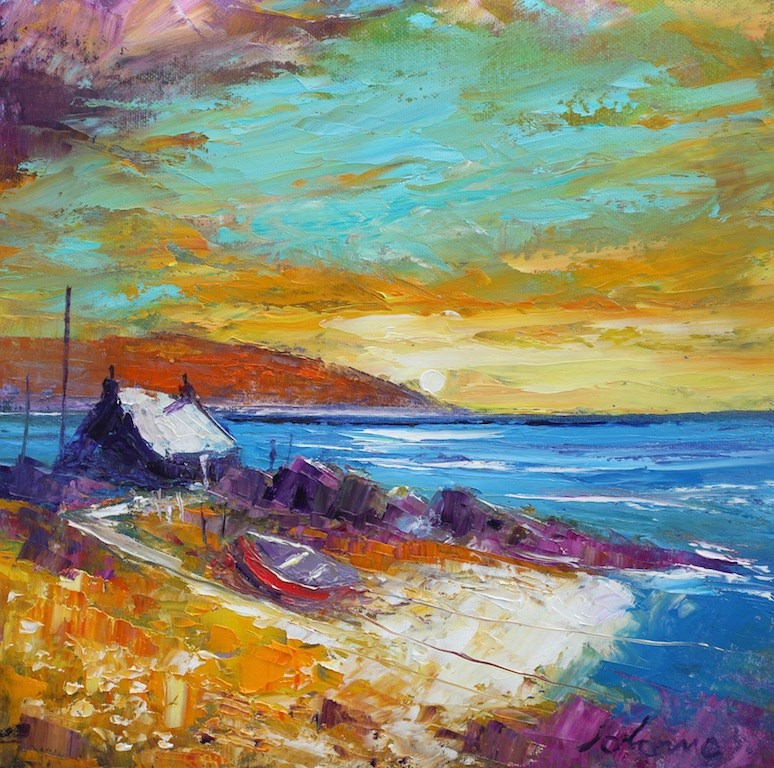 Beached Boat in the rocks Mull of Kintyre by John Lowrie Morrison -  sized 12x12 inches. Available from Whitewall Galleries
